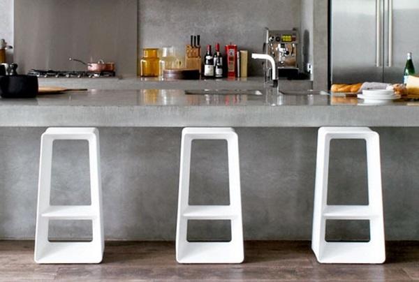 concrete kitchen feature