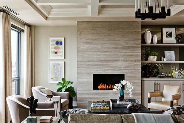 living room fireplace feature