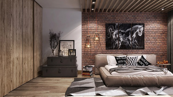 industrial bedroom feature