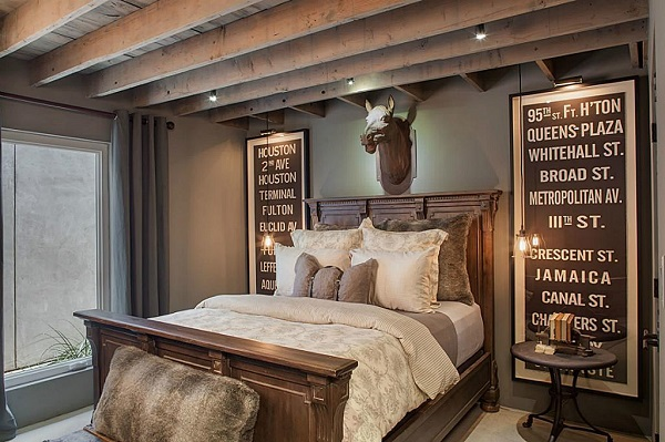 rustic master bedroom feature