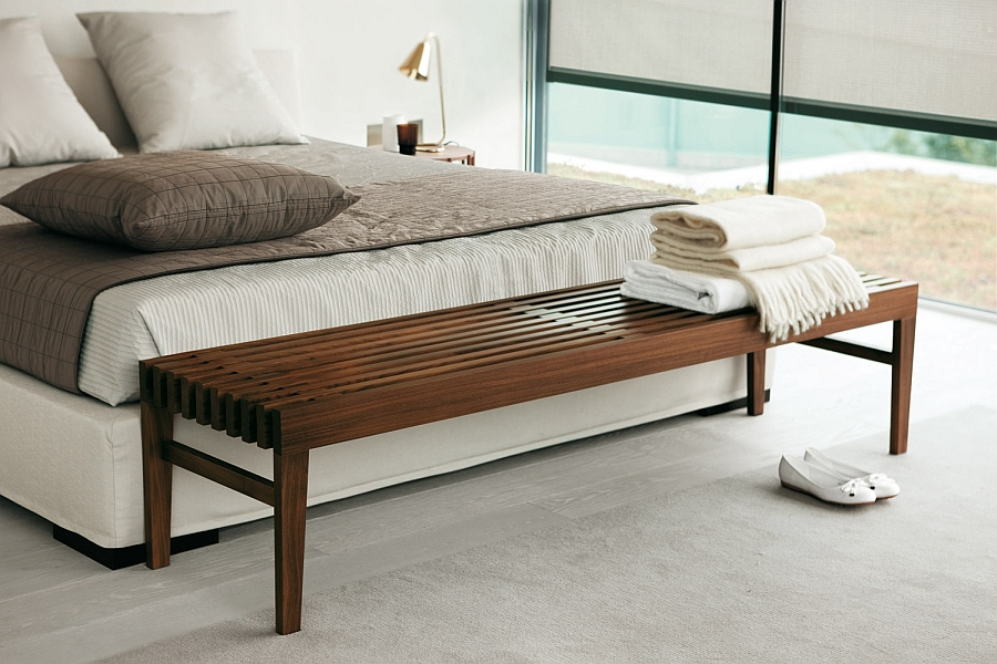 modern wooden bedroom bench