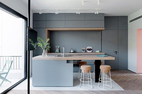 grey kitchen decoration feature