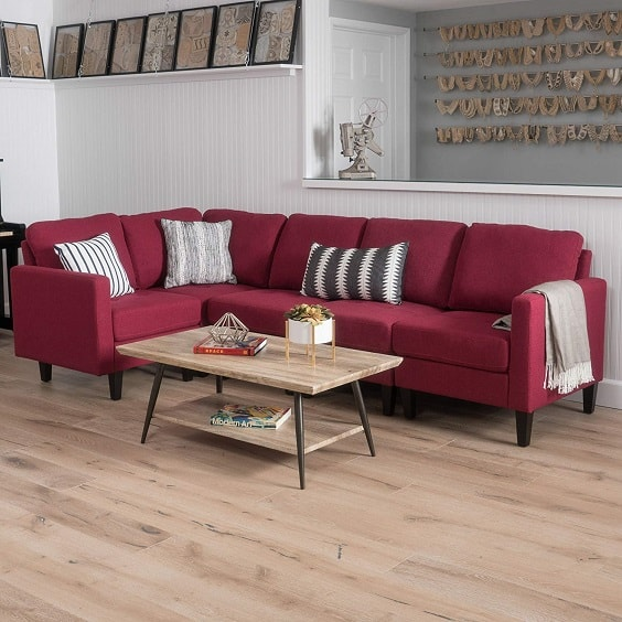 red living room couch 10-min