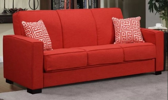 red living room couch 2-min