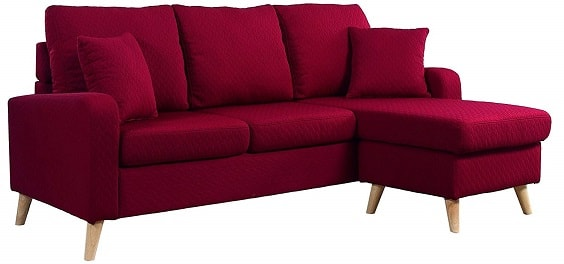 red living room couch 3-min