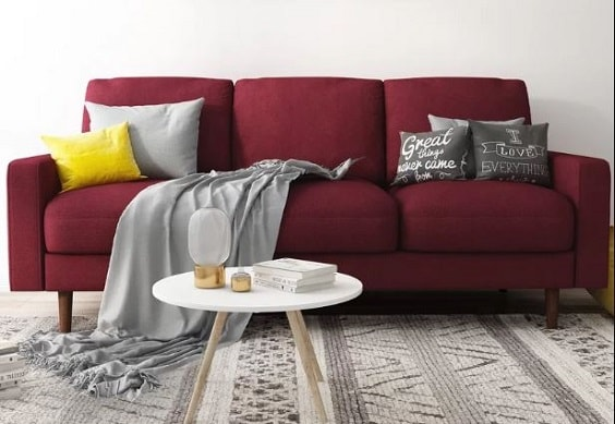 red living room couch 4-min