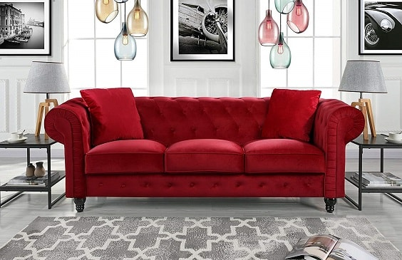 red living room couch 5-min
