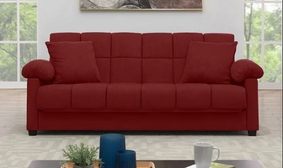 red living room couch 6-min