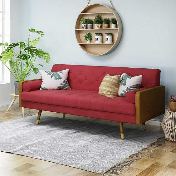 red living room couch 7-min