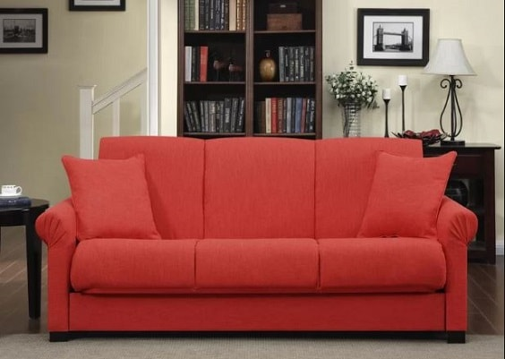 red living room couch 8-min