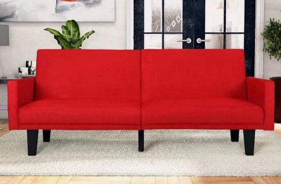 red living room couch 9-min