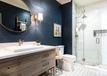 navy bathroom feature
