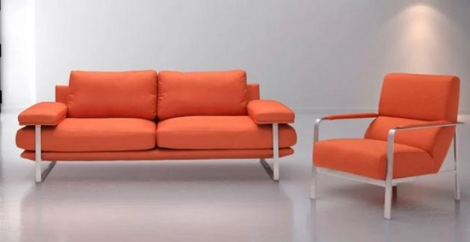 orange living room furniture feature