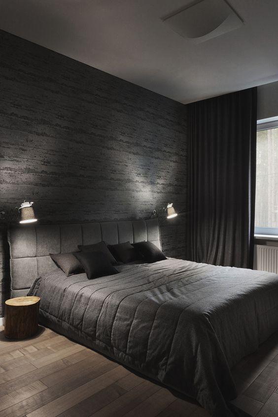 Dark Bedroom Ideas: Raw Textured Decor