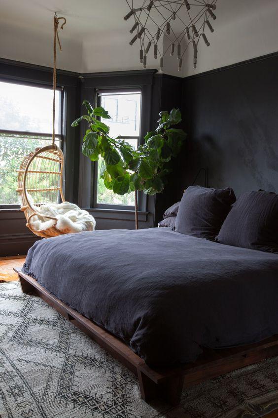 Dark Bedroom Ideas:Earthy Monochrome Decor