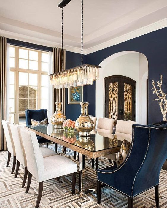 Navy Dining Room: Catchy Decorative Nuance