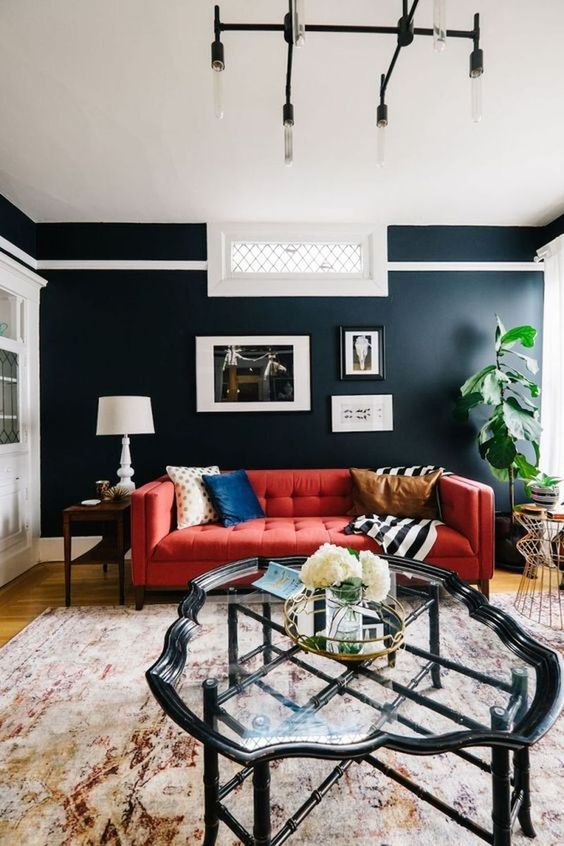 Navy Living Room: Stylish Colorful Decor