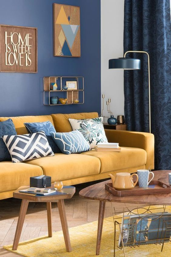 Navy Living Room: Brightly Colorful Decor