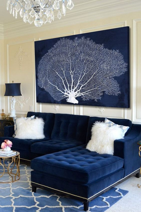 Navy Living Room: Glamour Vintage Decor