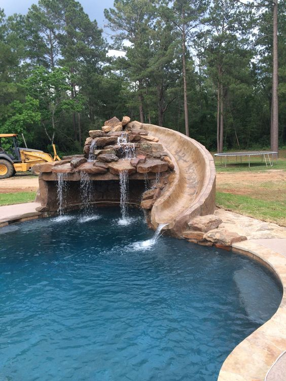 Swimming Pool with Slides: Stunning Rocky Design