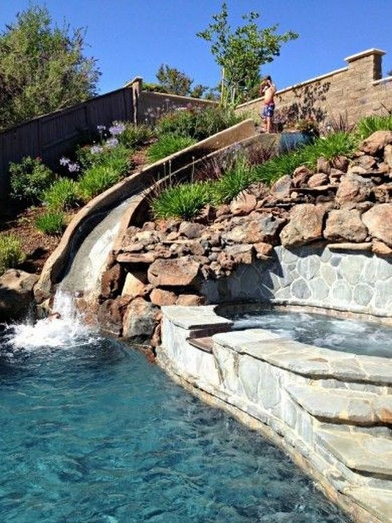 Swimming Pool with Slides: Outstanding Rocky Decor