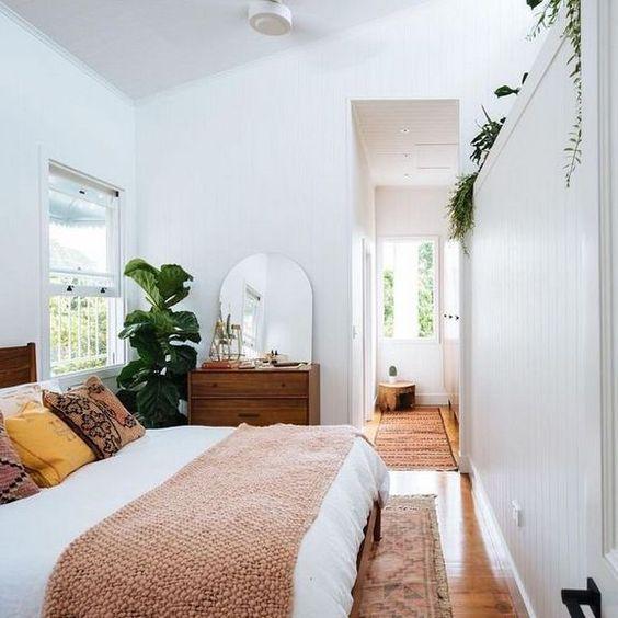 White Bedroom Ideas: Chic Narrow Bedroom