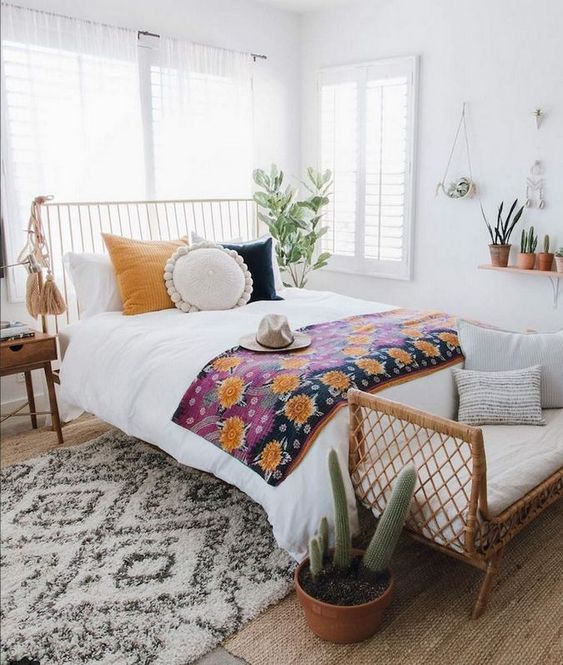 White Bedroom Ideas: Vintage Bohemian Style