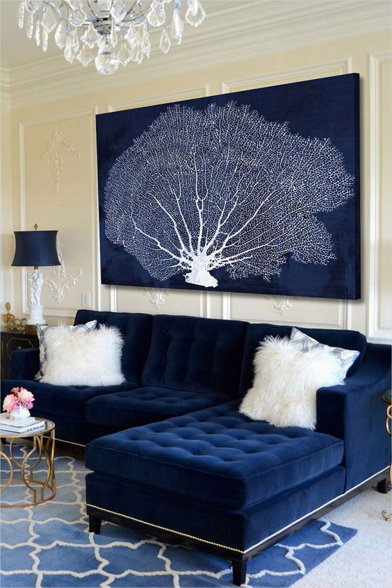 Blue Living Room: Modern French Country