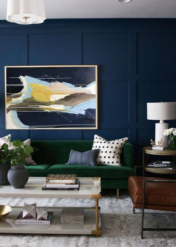 Blue Living Rooms: Earthy Bold Decor
