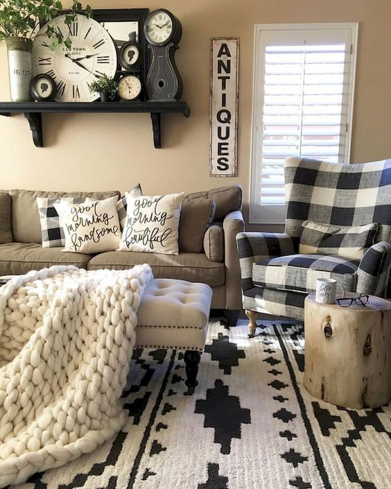 Brown Living Room Ideas: Chic Farmhouse Decor