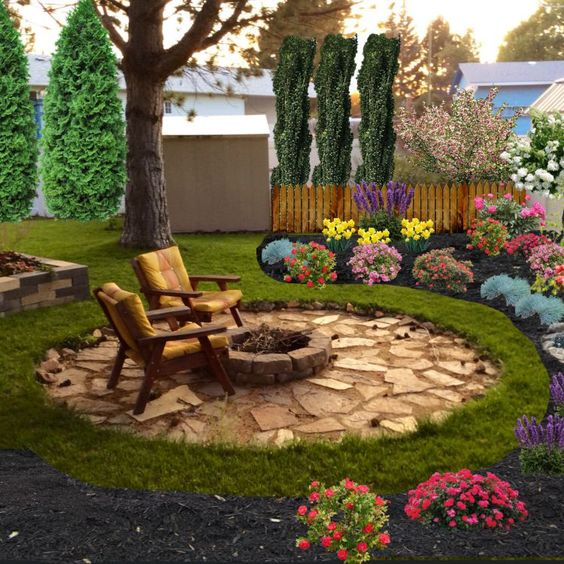 Stone Patio Ideas: Colorful Patio Landscaping
