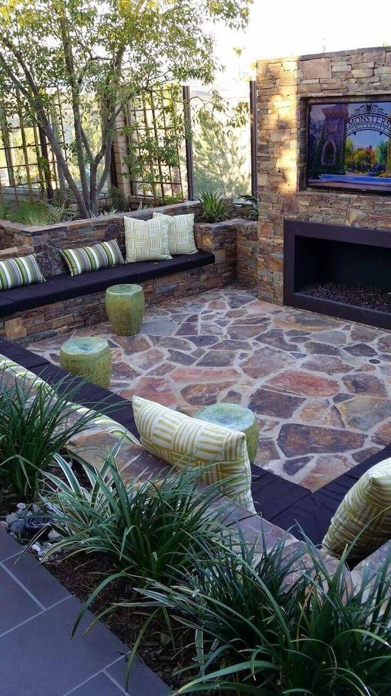 Stone Patio Ideas: Cozy Sunken Patio