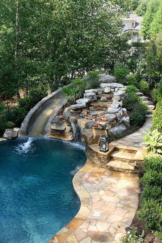 swimming pool with waterfalls 10