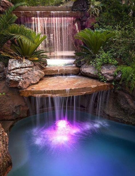 swimming pool with waterfalls 12