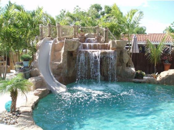 swimming pool with waterfalls 24
