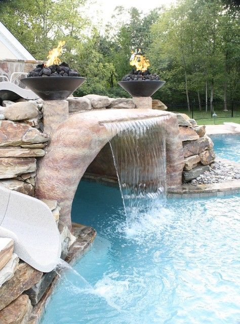 Swimming Pool with Waterfalls: Stunning Earthy Design