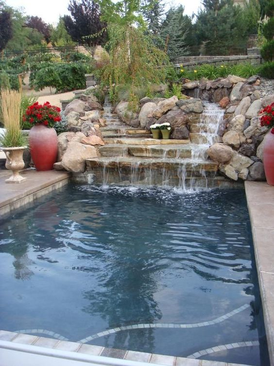swimming pool with waterfalls 7