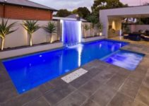 swimming pool with waterfalls feature
