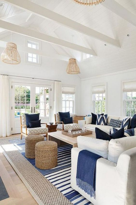 Warm Living Room Ideas: Striking Navy Design