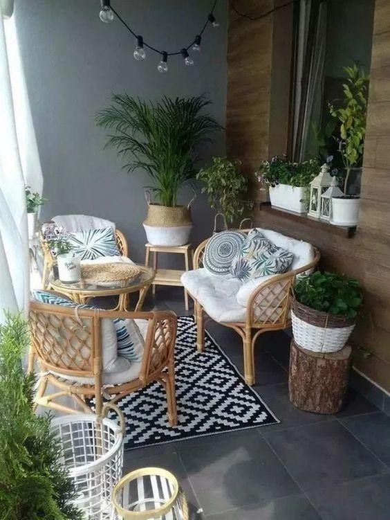 Apartment Patio Ideas: Earthy Rustic Decor