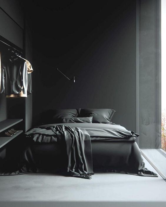 Black Bedroom Ideas: Cozy Small Layout