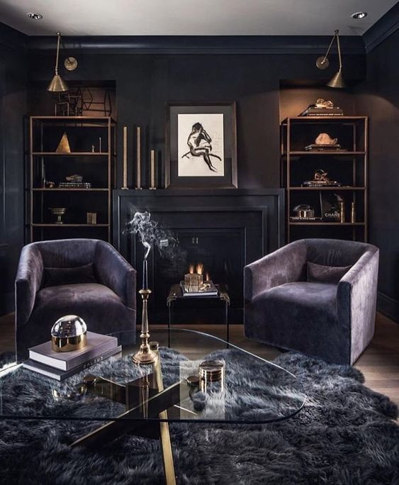 Black Living Room: Elegant Eclectic Decor