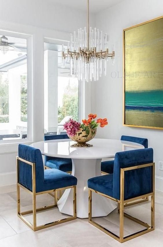 Blue Dining Room: Glamorous Small Room