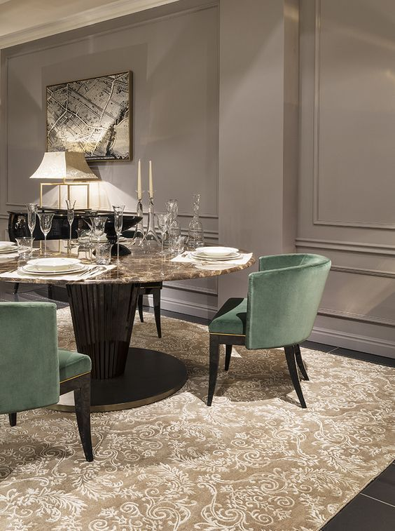 Transitional Dining Room: Glamorous Neutral Decor