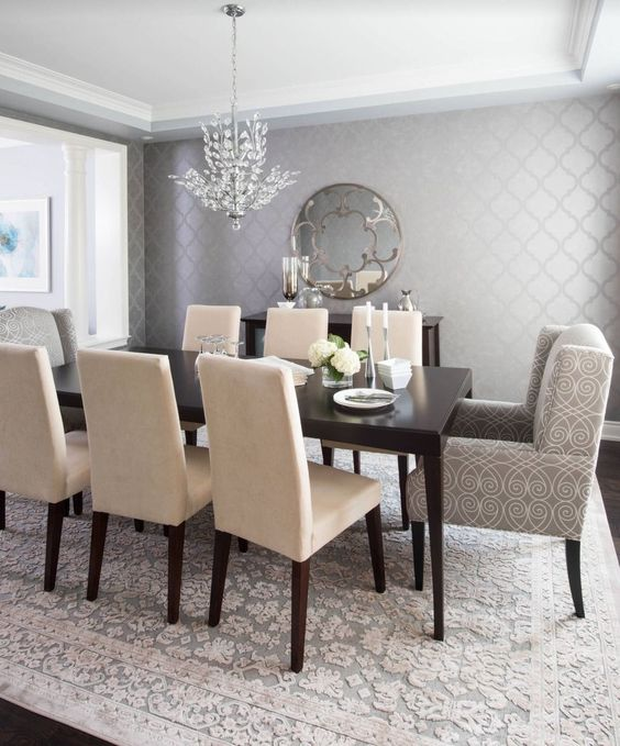 Transitional Dining Rooms: Festive Neutral Decor
