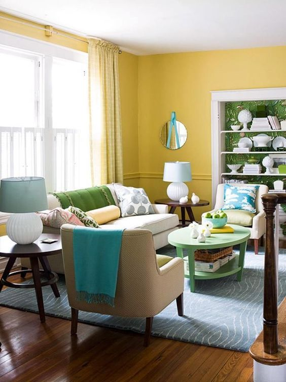 Yellow Living Room: Catchy Fresh Decor