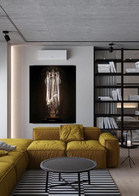 Yellow Living Room: Minimalist Industrial Decor