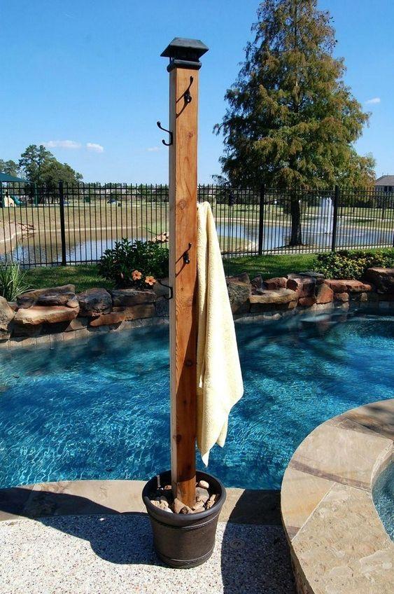 Swimming Pool Decorations: Rustic Towel Hanger