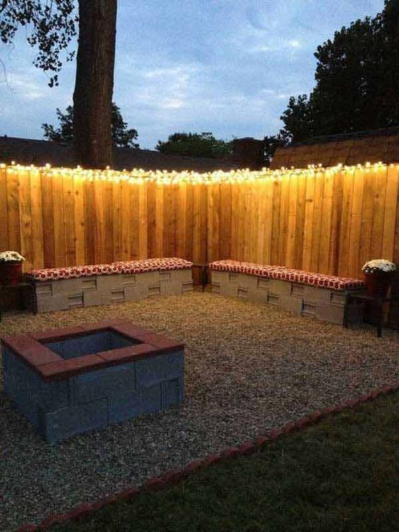 Patio Lights Ideas: Sparkling Backyard Fence