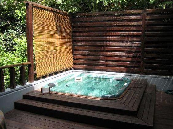 Sunken Hot Tub: Gorgeous Woody Design